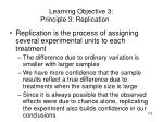 learning objective 3 principle 3 replication