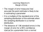 learning objective 5 margin of error