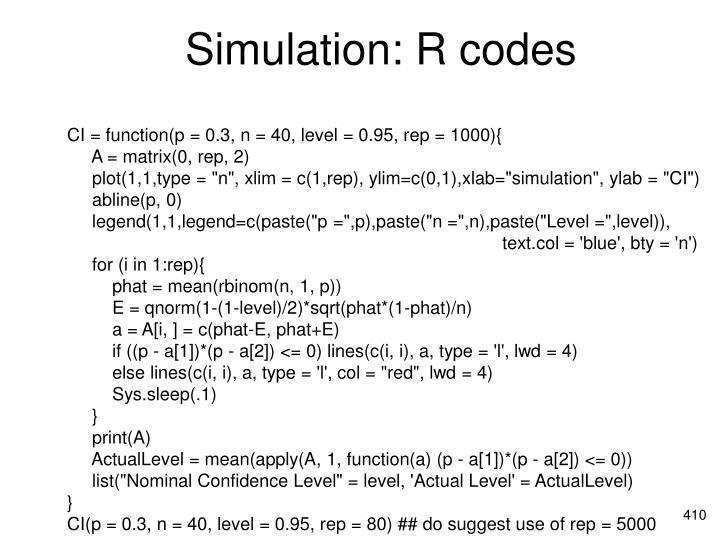 Simulation: R codes
