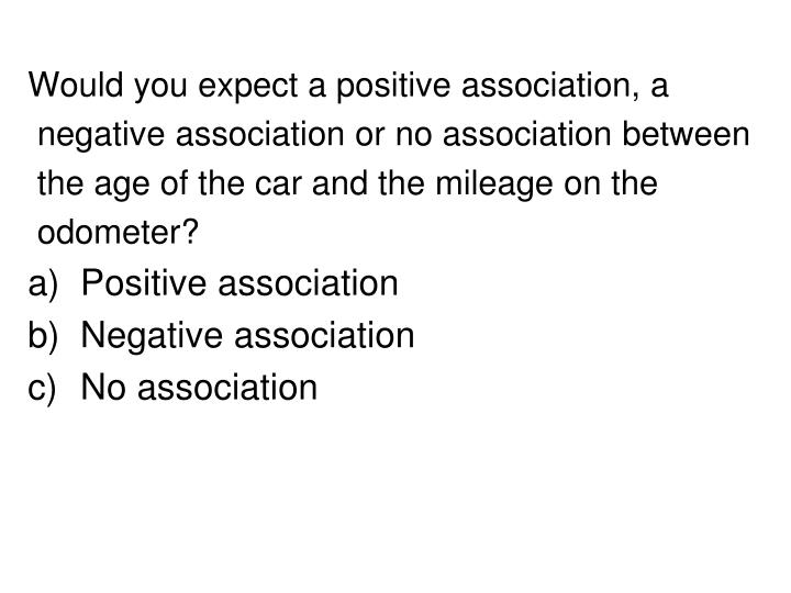 Would you expect a positive association, a