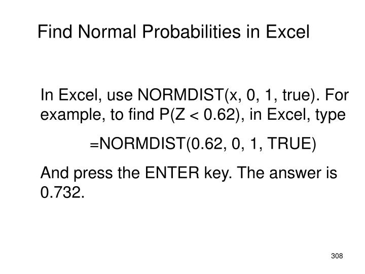 Find Normal Probabilities in Excel