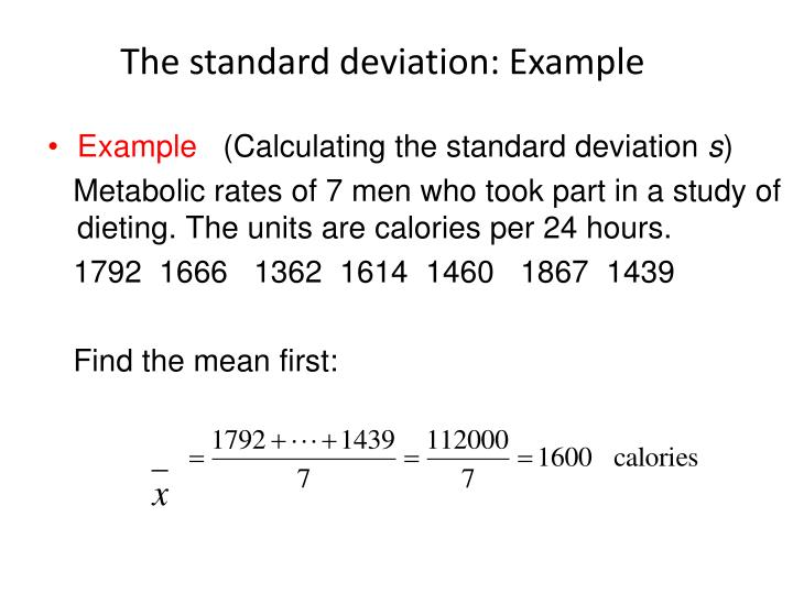 The standard deviation: Example