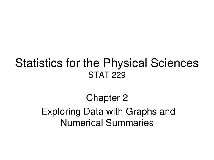Statistics for the Physical Sciences