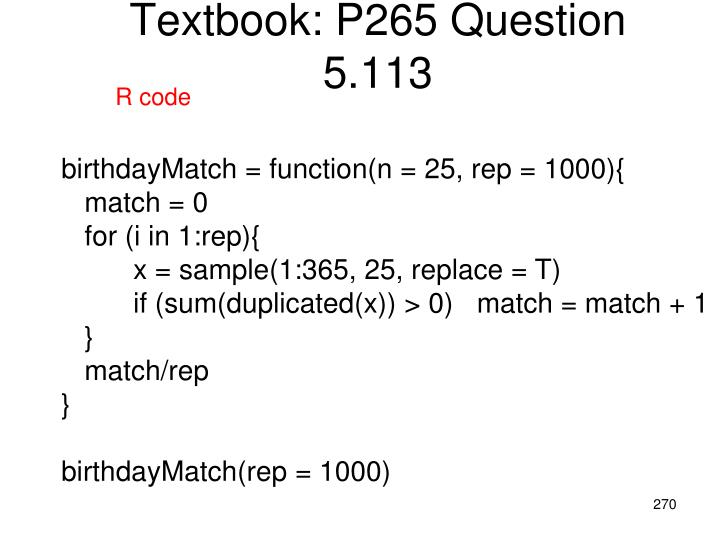 Textbook: P265 Question 5.113