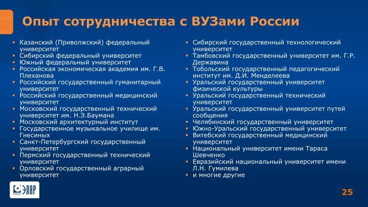 Опыт сотрудничества с ВУЗами России