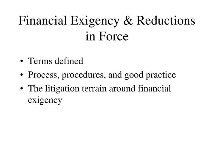 Financial Exigency & Reductions in Force