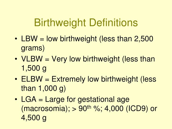 Birthweight Definitions