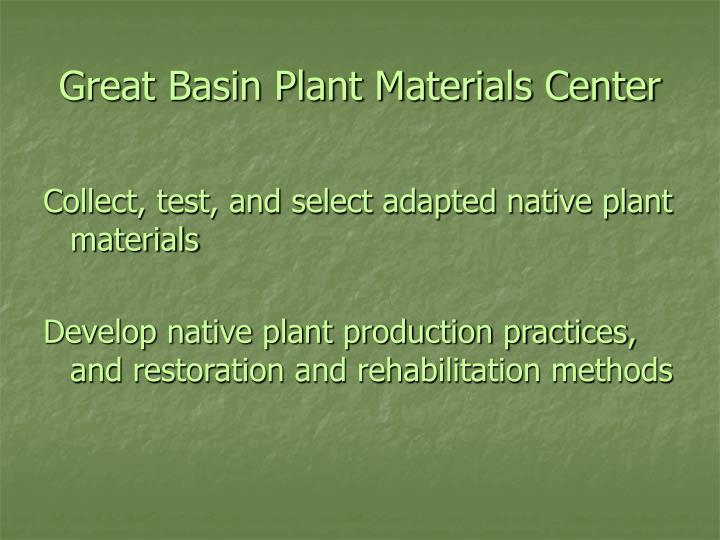 Great basin plant materials center