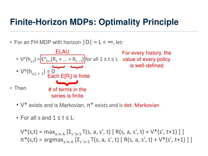 Finite-Horizon MDPs: Optimality Principle