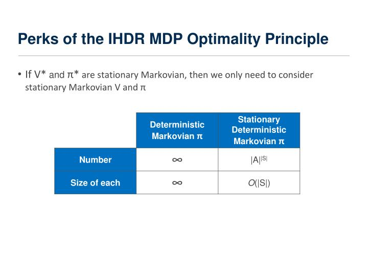 Perks of the IHDR MDP Optimality Principle
