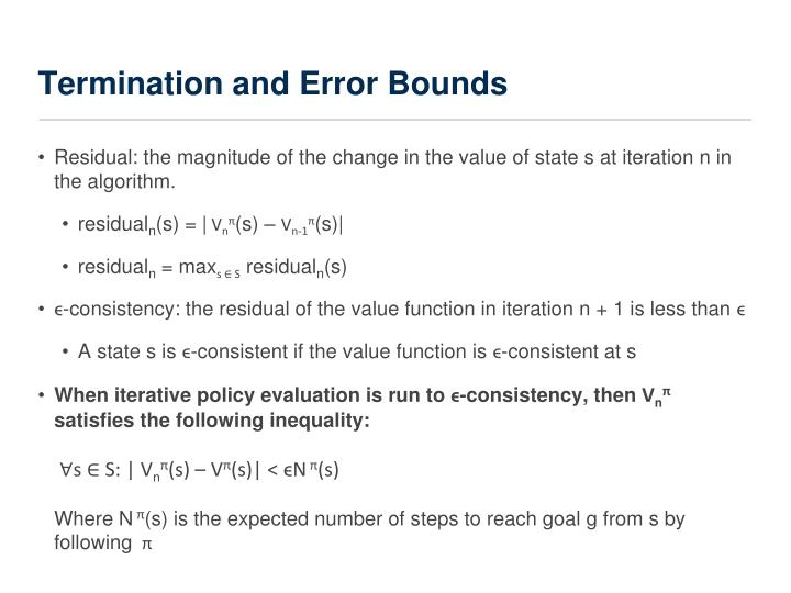 Termination and Error Bounds
