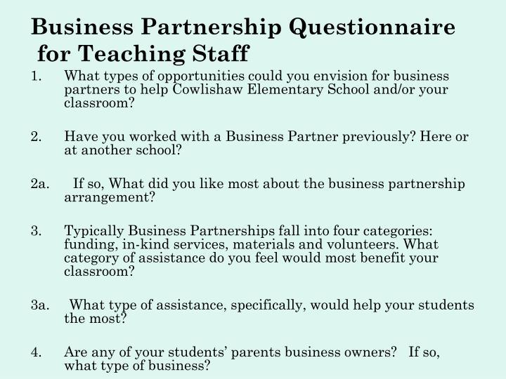 Business Partnership Questionnaire