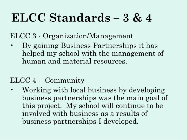 ELCC Standards – 3 & 4