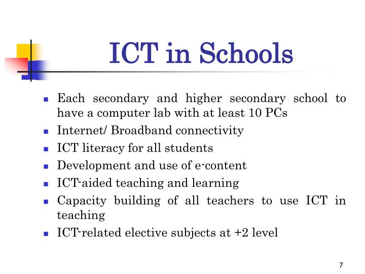 teaching ict in secondary schools Where schools have had the backing of the head teacher and there is a long term policy for the school to integrate ict into the teaching then they have been successful in gradually developing the use although since many of the secondary school respondents held senior positions in their.