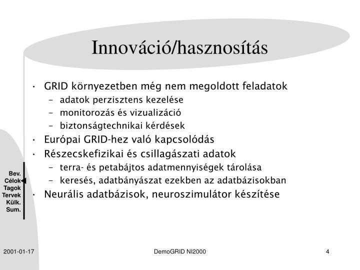 Innováció/hasznosítás