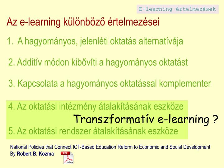 E-learning értelmezések
