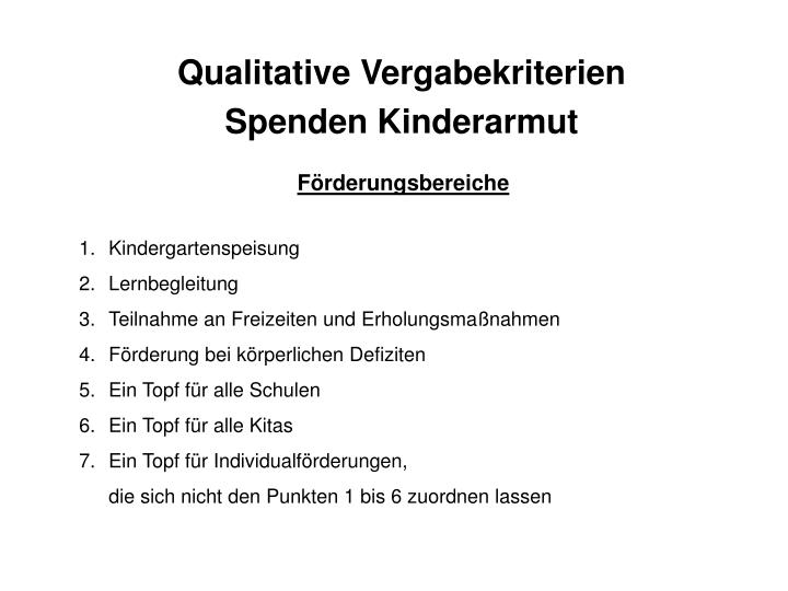 Qualitative Vergabekriterien