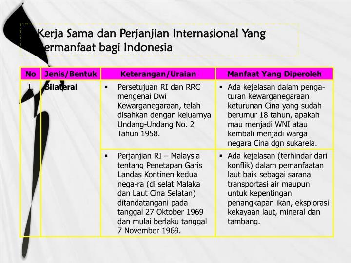 Kerja Sama dan Perjanjian Internasional Yang Bermanfaat bagi Indonesia