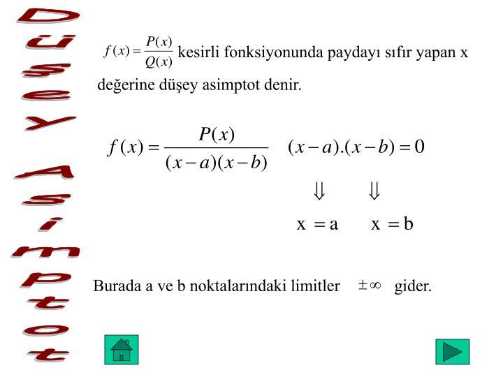 kesirli fonksiyonunda paydayı sıfır yapan x