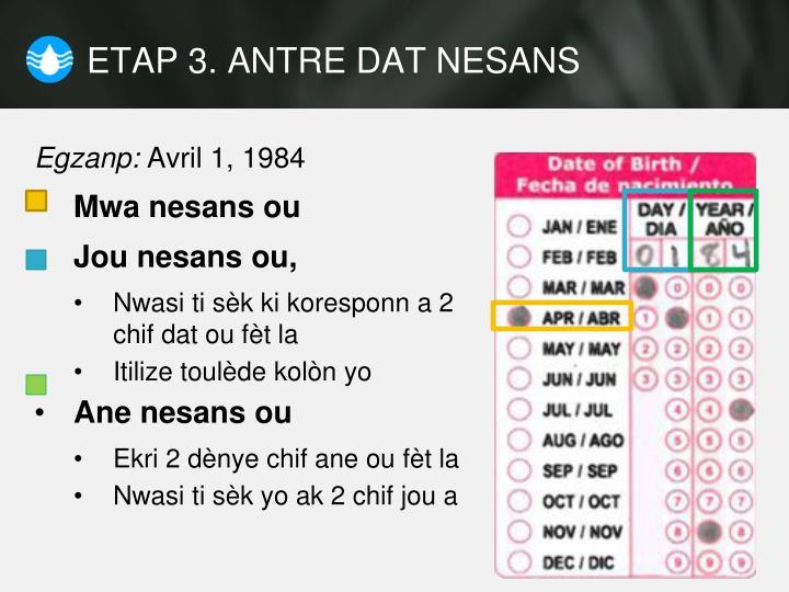 ETAP 3. ANTRE DAT NESANS