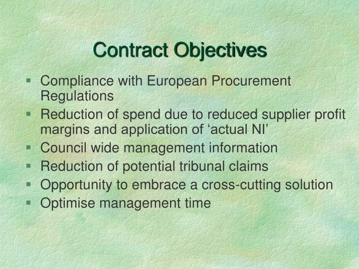 Contract objectives