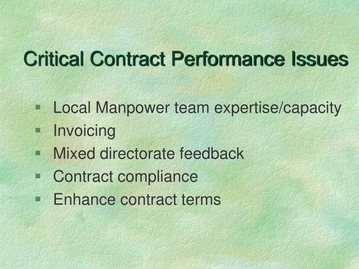 Critical Contract Performance Issues