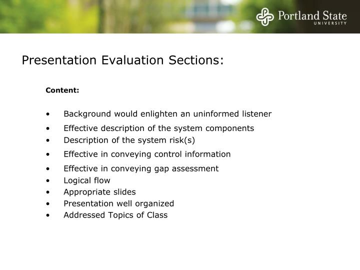 Presentation evaluation sections