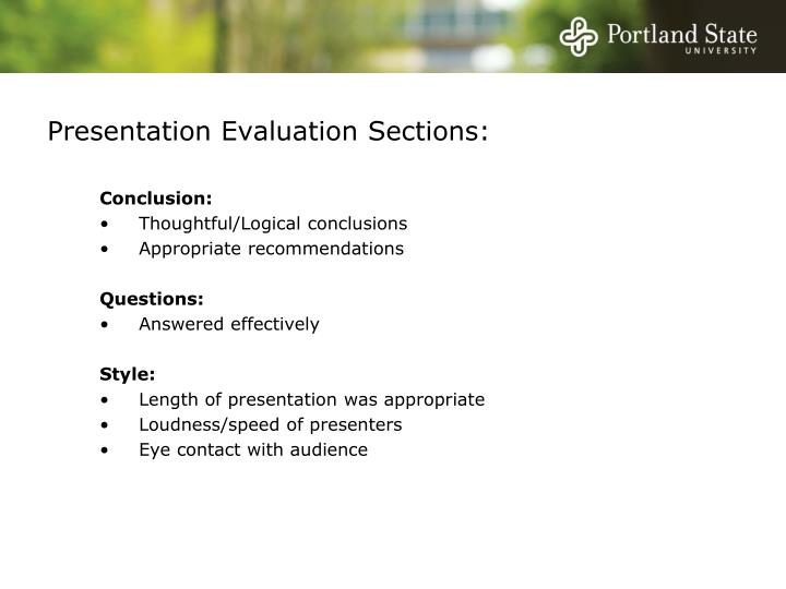 Presentation evaluation sections1