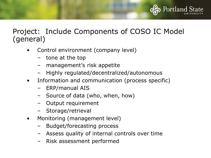 Project:  Include Components of COSO IC Model (general)