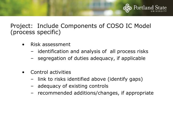 Project:  Include Components of COSO IC Model (process specific)