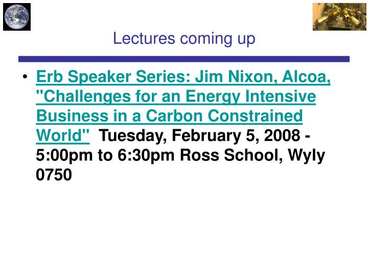 Lectures coming up