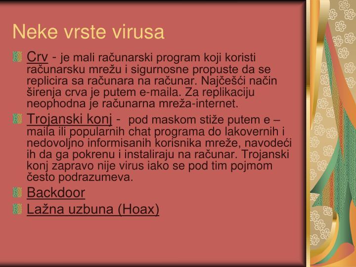 Neke vrste virusa