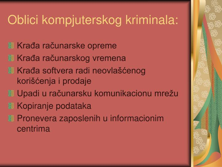 Oblici kompjuterskog kriminala: