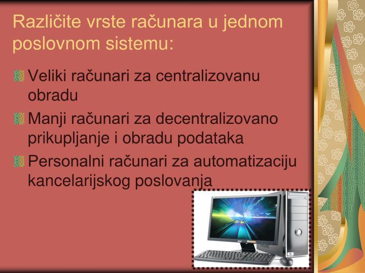 Različite vrste računara u jednom poslovnom sistemu: