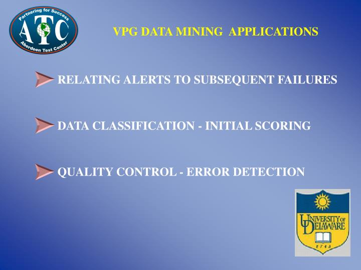 VPG DATA MINING  APPLICATIONS