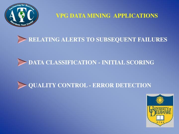 VPG DATA MINING  APPLICATIONS