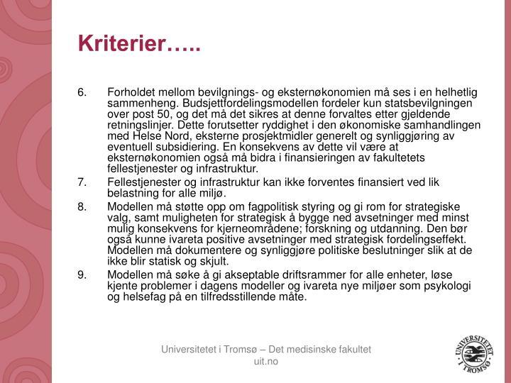 Kriterier…..