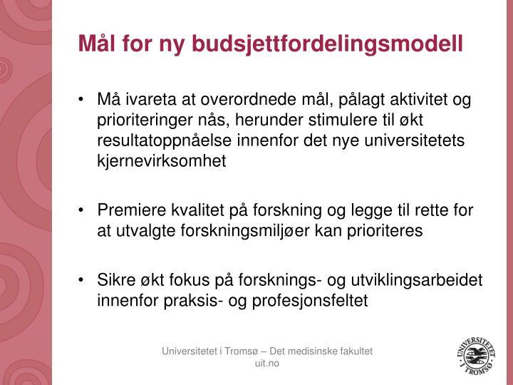 Mål for ny budsjettfordelingsmodell