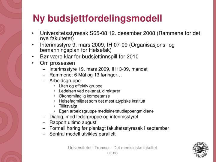Ny budsjettfordelingsmodell
