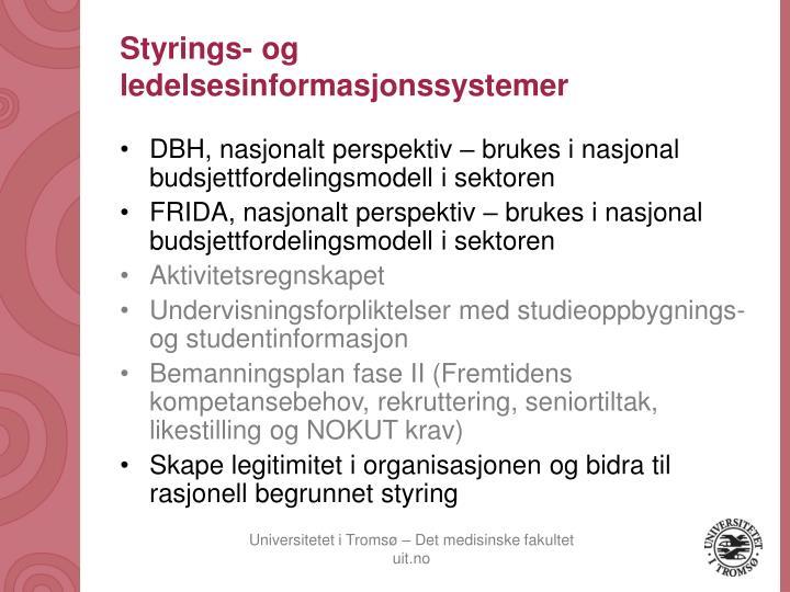 Styrings- og ledelsesinformasjonssystemer