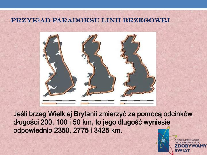 Przykład paradoksu linii brzegowej
