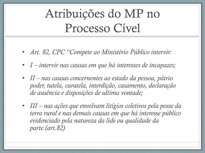 Atribuições do MP no Processo Cível