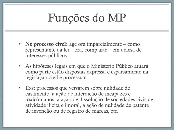 Funções do MP