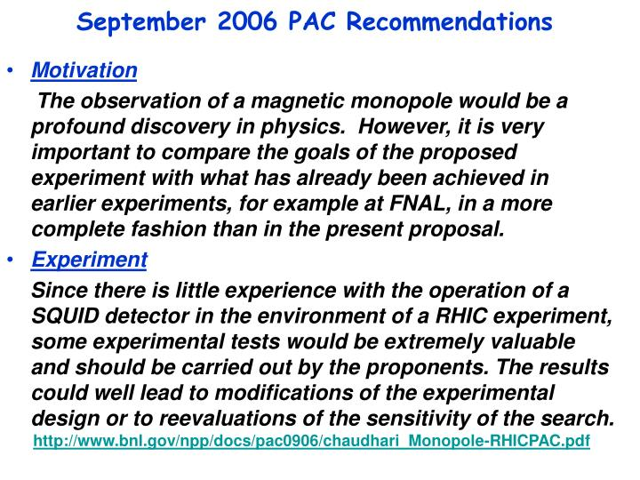 September 2006 pac recommendations