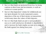 bank s responsibility to depositors and stockholders