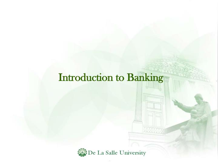 Introduction to banking