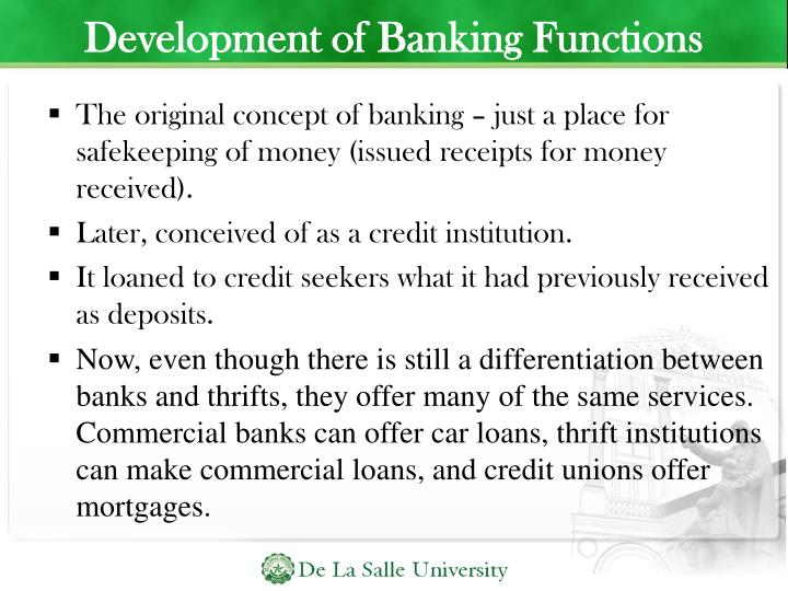 Development of Banking Functions