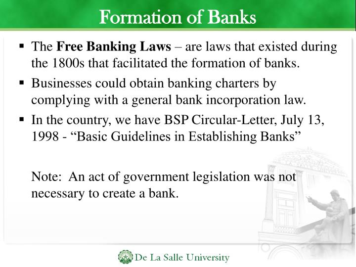 Formation of Banks