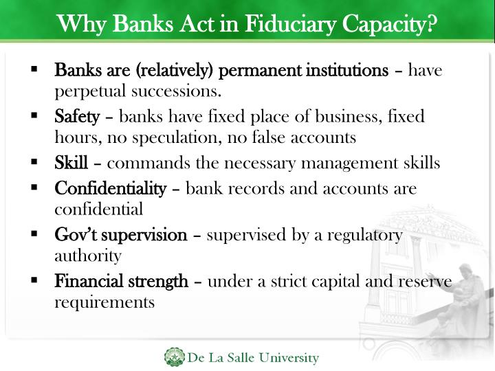 Why Banks Act in Fiduciary Capacity?