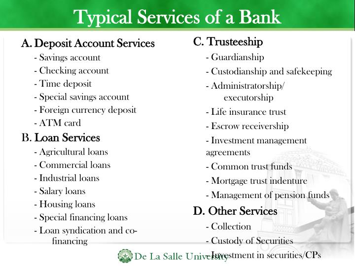 Typical Services of a Bank